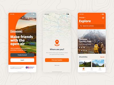 GetOutside – with a little help from a digital app place event details list login intro splash app ui ios navigation map mobile
