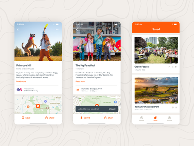 GetOutside – Find your new favorite spot navigation toast list travel map bookmark ui app simple ios mobile place event