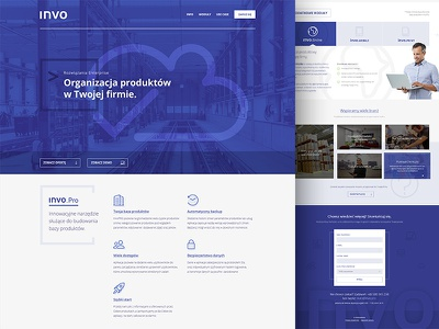 invo pro blue tabs hero features one page landing page commerce landing