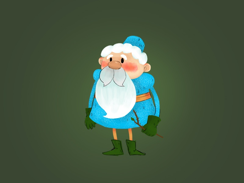 Wizard story childrens illustration mustache wizard branch beard white character design old