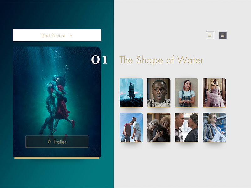 Daily UI 019 - Leaderboards (Oscars) the post call me by your name three billboards get out lady bird dunkirk shape of water 19 leaderboards leaderboard daily ui oscars