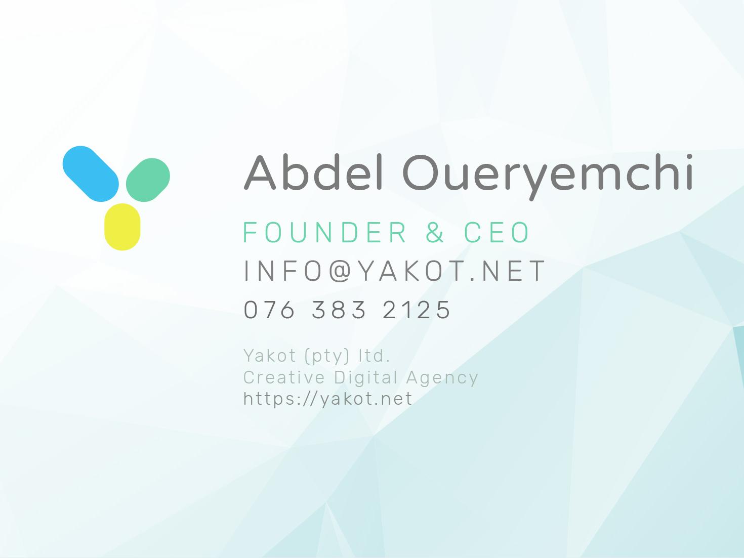 Yakot - Business Card - Concept 1 corporateidentity print businesscard typography vector design