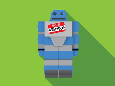 Squisshy Robot From Nic's Desk flat illustration robot