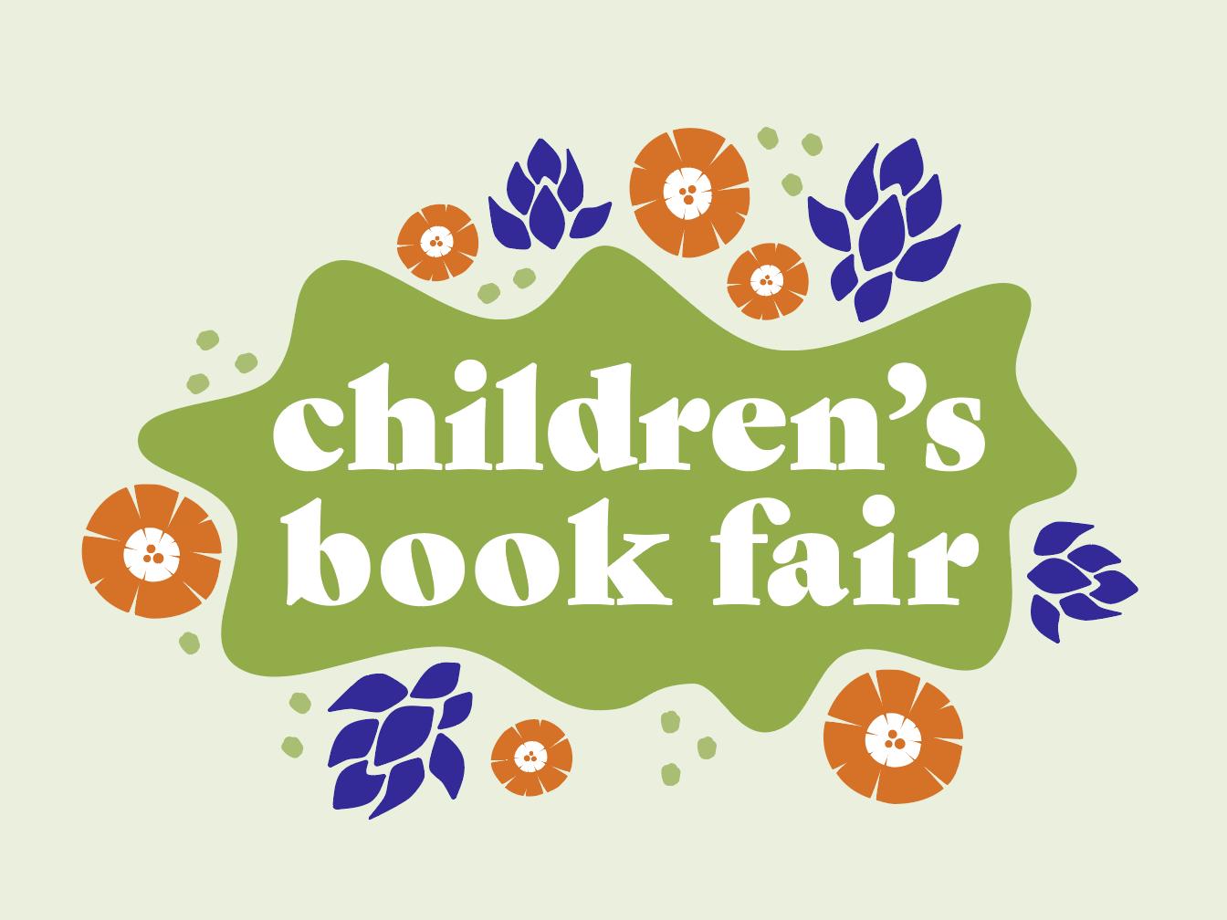 Children's book fair typography digital branding logo vector drawing illustration floral