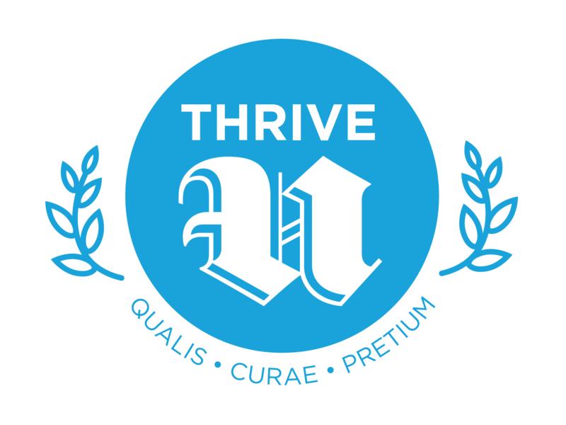 Thrive U crest collegiate startup scholastic latin vet thrive blackletter vector branding design branding and identity branding logo university