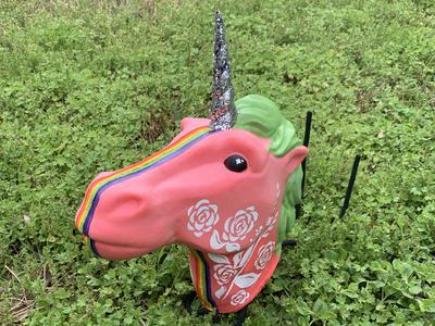 OMG you guys, hand painted unicorn head!