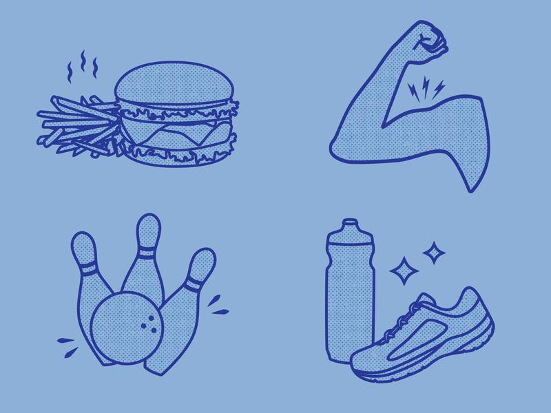 Benefits icons strength hamburger illustrator design branding drawing digital vector illustration icon