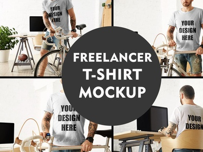Freelancer T-shirt Mockup Template logo motion graphics graphic design 3d animation ui