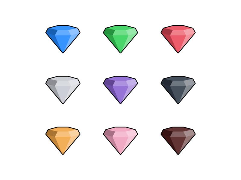 Gemstones - Outlined vector sapphire ruby rose quartz gemstones gemstone gems gem figmadesign figma emerald diamond amethyst