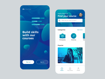 Course App - Concept online learning course design ui mobile app
