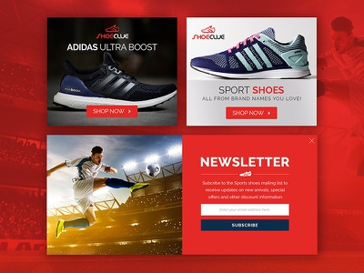 Shoe Clue website vibrant classic modern red ad banners ecommerce adidas newsletter banner design