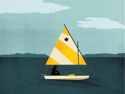 Sailboat summer outdoor sports illustration sunfish landscape vector water sail sailing boat