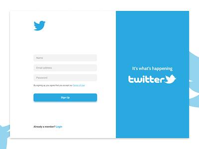 Sign-up Screen Concept for Twitter Web App dribble user experience branding vector logo illustration graphic design twitter website twitter.com twitter website webapp ui design sign-up page sign-up interface app user interface ux ui