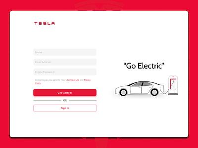 Tesla Sign Up Page Concept electric car tesla login sign up app logo ux ui design minimal