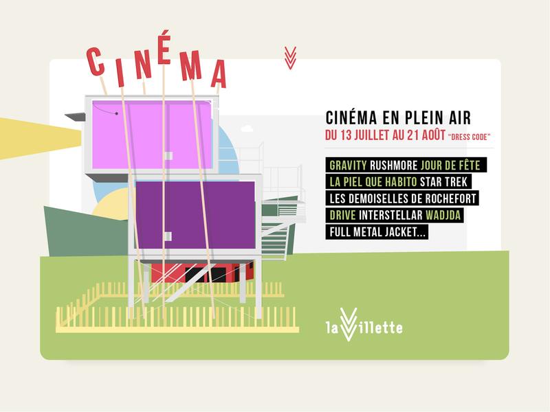 Drive-in in La Villette Park outside france lavillette park cinema design architecture paris illustration flat