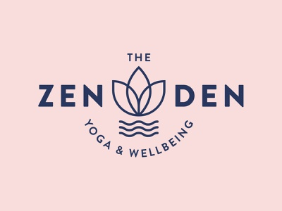The Zen Den wellbeing plant flower surf waves water yoga logo den zen