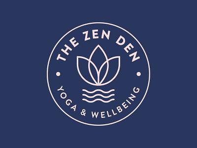 The Zen Den circle flower wellbeing yoga nature ocean water wave surf logo