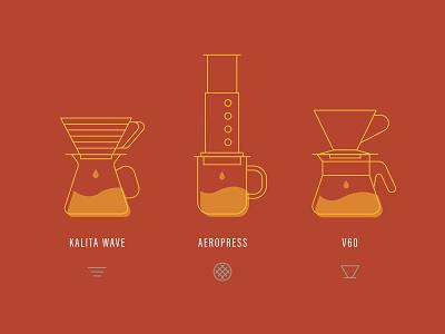 Brew Bar line art illustration icon filter aeropress kalita wave v60 coffee