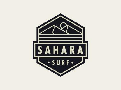 Sahara Surf holiday travel wave water ocean logo badge outdoor adventure desert surf sahara