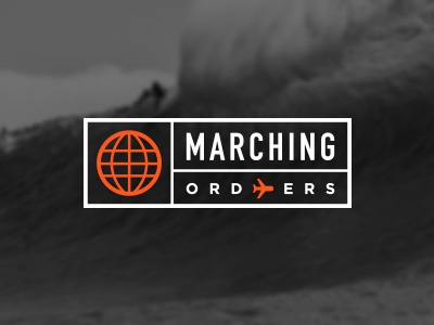 Marching Orders plane aeroplane editorial tag globe ticket stamp travel logo surf