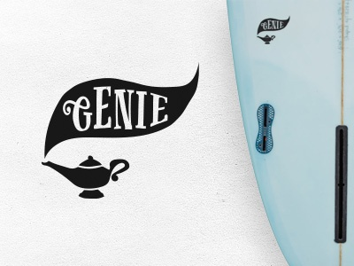 Genie illustration lamp genie decal surfboard surf logo