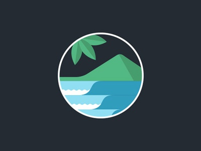 Surf Resort Logo badge travel adventure trees nature outdoors mountain waves wave surfing surf logo