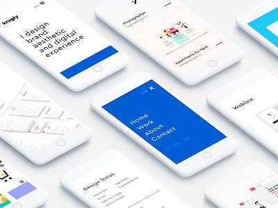 mobile portfolio brand personal blue cobalt clean flat mobile design product ui ux portfolio