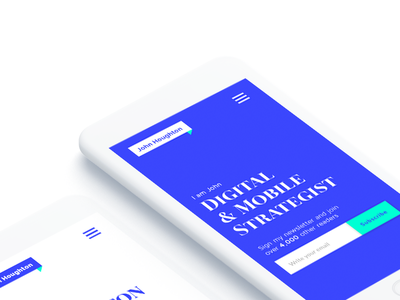 Mobile Strategist typography strategy ux ui product design mobile flat clean blue personal brand