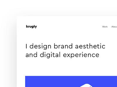 Personal Portfolio logo mobile space white typography big blue work about portfolio design clean