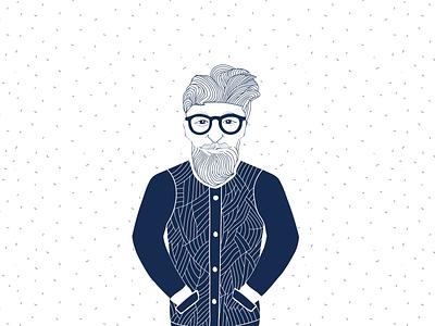 Hipster hero label illustration glasses avatar blue art character work line