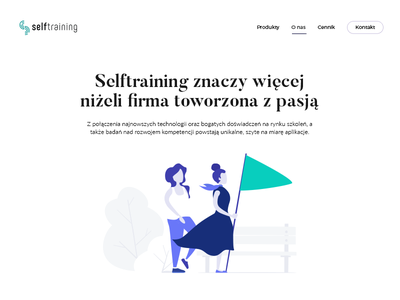 Self-training logo illustration typography mint coach landing home page