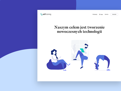 Blue typography landing home page blue colors illustration