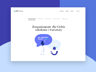 Blue2 typography landing home page blue colors illustration