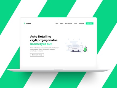 Eco car wash typography white green web development web design logo ui design flat landing clean