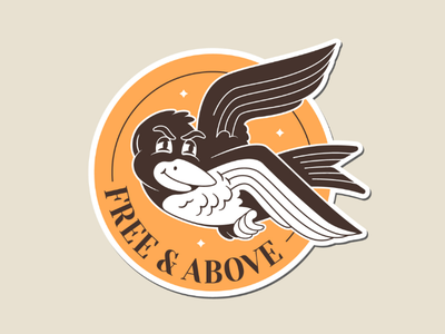 Free and Above Sticker for a good cause dribbblers only illustration sticker bird birdy mental health