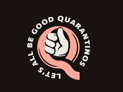 Quarantinos covid responsible typography type logo badge illustration thumbs up quarantine q