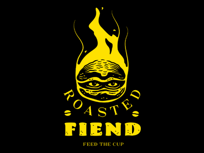 Roasted Fiend yellow eyes coffee bean drawing logo illustration coffee