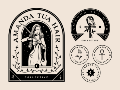 Amanda Tua Hair Collective sun stars moon vine ankh woman symbol rose sword logo tarot hair