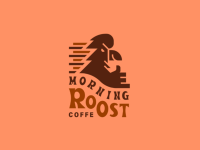 Morning Roost emblem mark beale font coffee logo rooster