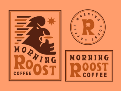 Morning Roost Coffee V2 morning coffee badge design badge logo logo rooster