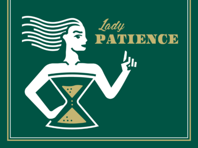 Lady Patience V2 hourglass illustration badge girl patience lady logo