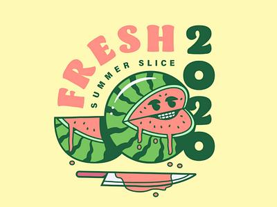 Fresh Summer Slice summer face gory funny design badge illustration watermelon