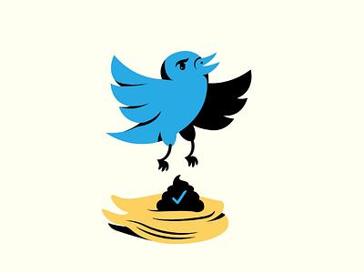 Twitter FTW trump toupee poop bird pop culture design in the news illustration twitter