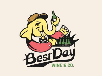 B.D. design typography custom type delivery bottle wine logo elephant