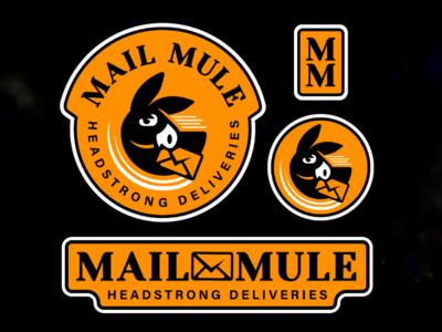 M.M. V2 logo system delivery post mail illustration mule design logo