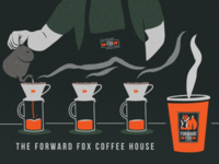 F.F. Illustrated Mock-up logo forward fox coffee branding illustration mock-up
