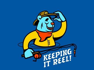 Keeping It Reel fishing bear mascot cartoon vector typography drawing doodle illustration