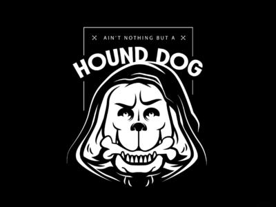 Nothing like a hound dog design vector badge face death bone illustration black and white skull dog hound dog