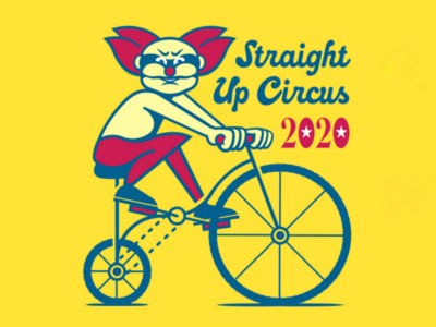 Straight Up Circus wtf yellow bicycle bike illustration clown circus