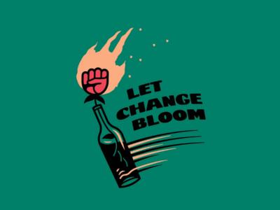 Let Change Bloom logo illustration design idea fist rose bloom change